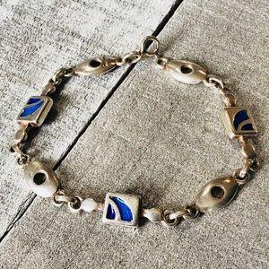 Sterling Silver Mod Blue Enamel Link Bracelet